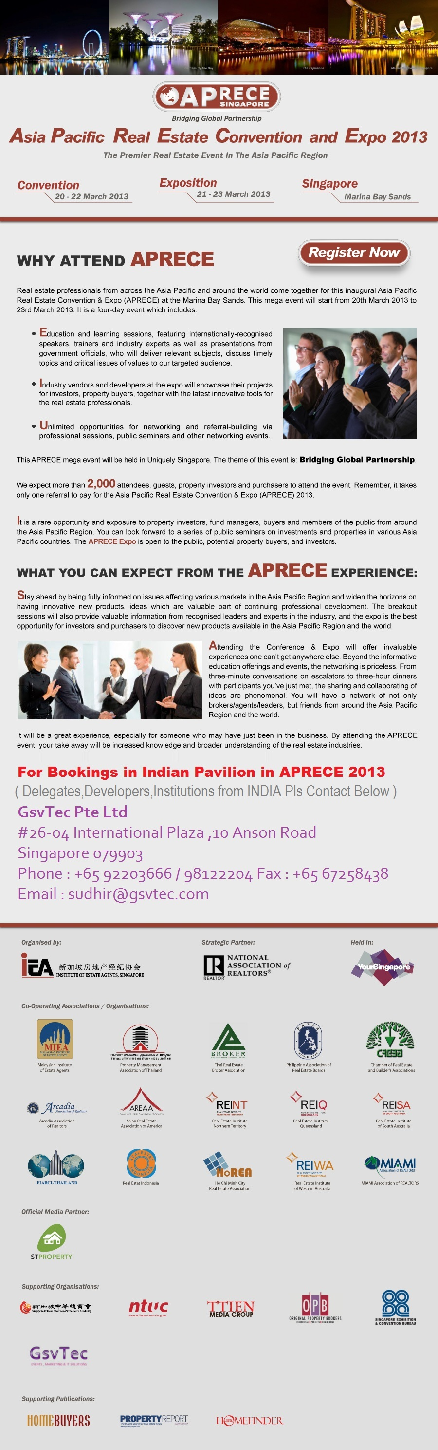 Indian property showcase at Indian Pavilion at APRECE 2013 Singapore - asia pacific real estate convention and expo 2013